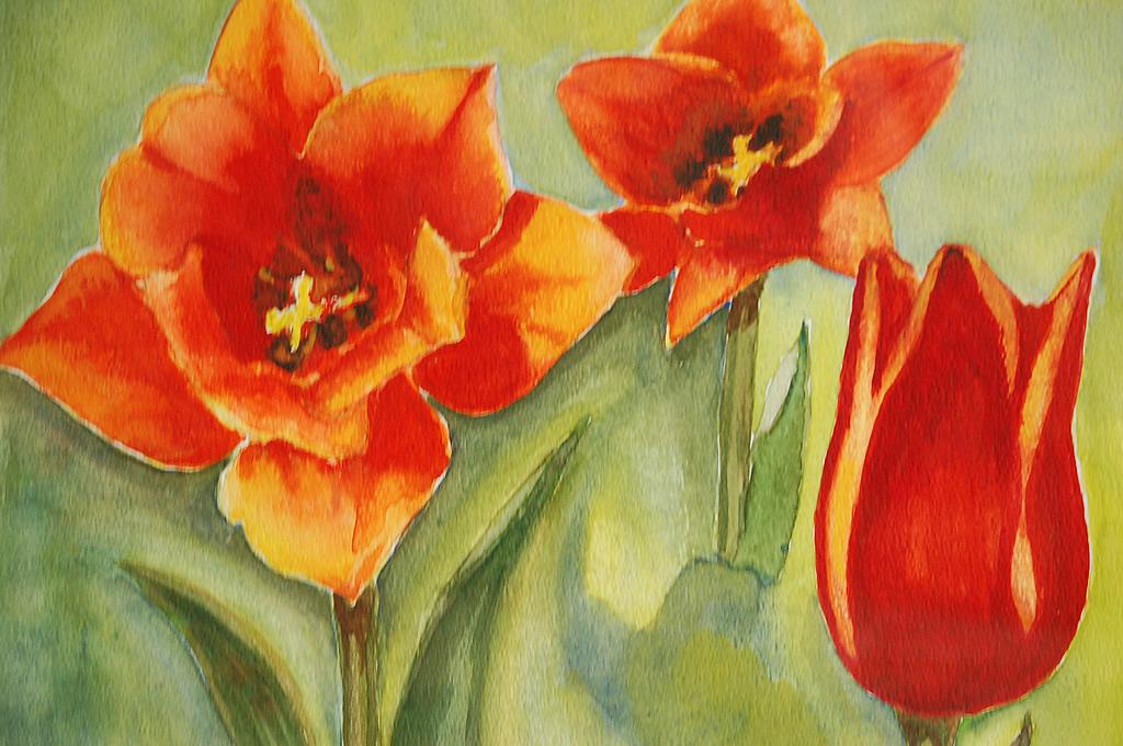 Aquarel met Tulpen